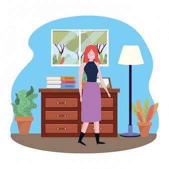 Isolated avatar woman vector
