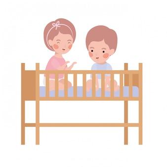Isolated baby boy and girl