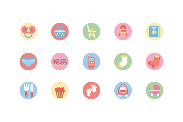 Isolated baby objects and toys icon set