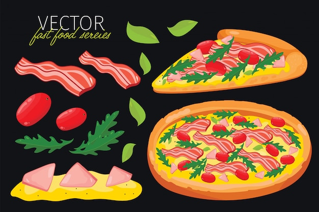 Isolated bacon pizza. fast food set.