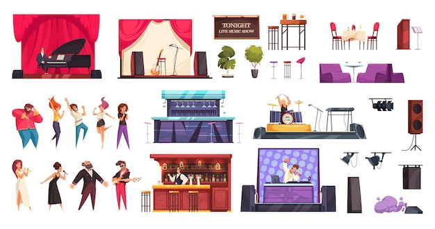 Isolated bar live music people icon set with different attributes for performance illustration