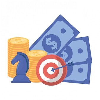 Isolated bills coins chess and target illustration