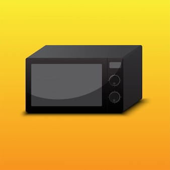 Isolated black microwave on orange background