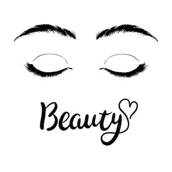 Isolated black and white female eyes make up icon
