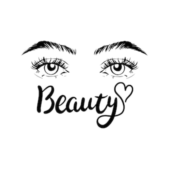 Isolated black and white female eyes. vector and illustrations