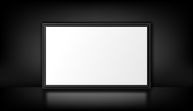 Isolated on the black. white lightbox. empty advertising panel.
