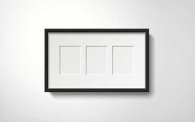 Изолированная пустая рамка с пространством для фотографий, висящая на стене, реалистичный стиль 3d иллюстрации