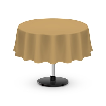 Isolated blank round table with tablecloth in beige color on white