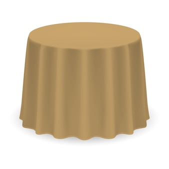 Isolated blank round table with tablecloth in beige