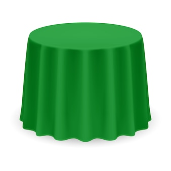 Isolated blank round table with tablecloth in green color on white