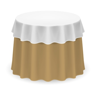 Isolated blank round table with tablecloth in white and beige