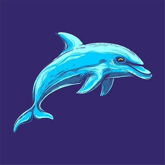 Изолированные синий дельфин иллюстрации
