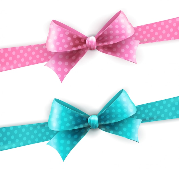 Isolated blue and pink polka dots bow