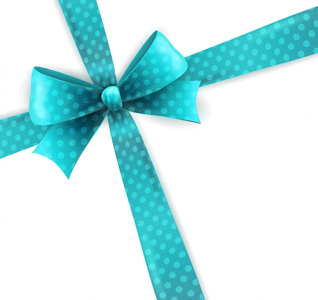 Isolated blue polka dots bow