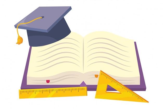 Изолированная обложка книги и линейка школьного дизайна, векторная иллюстрация