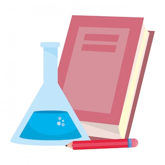 Isolated book flask and pencil of school design vector illustration