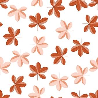 Изолированные ботанические бесшовные модели с цветочным орнаментом из цветов шеффлера в оранжевых и розовых тонах