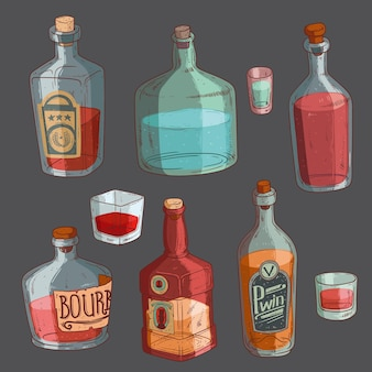 Isolated bottles and glasses filled with alcohol