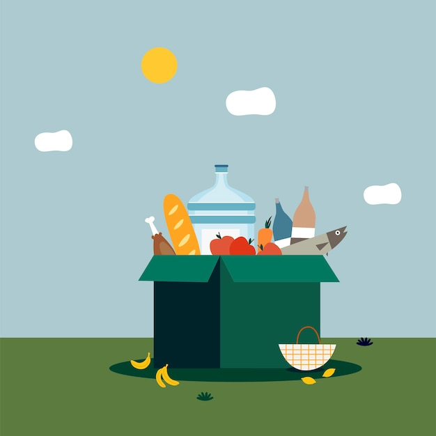 Isolated box of groceries illustration