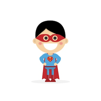 Isolated boy dressed as a superhero