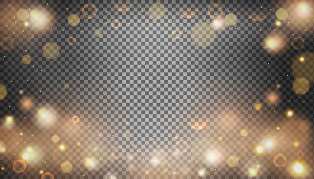 Isolated bright bokeh effect on a transparent background.