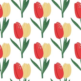孤立した明るい春のシームレスなチューリップパターン。白地に赤と黄色の芽と花のシルエット。