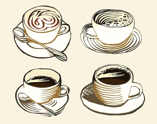 レトロなスタイルのロゴの分離された茶色のカップは、コーヒーハウスベクトルのロゴタイプコレクションを設定します