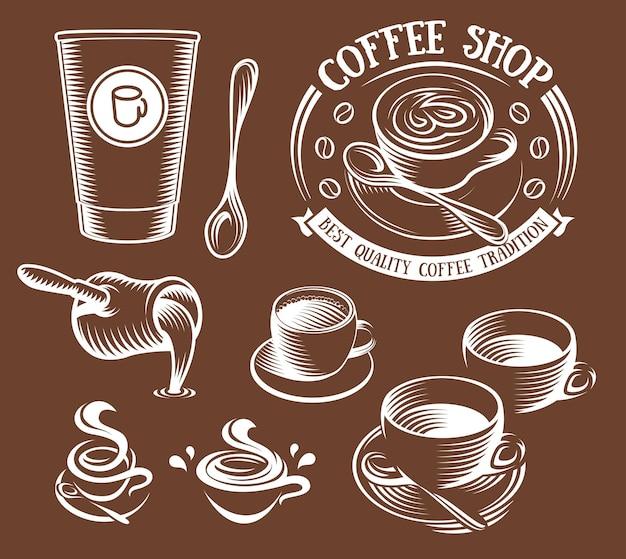 Изолированные коричневый цвет чашки в ретро стиле логотипов набор логотипов коллекции для кафе вектор