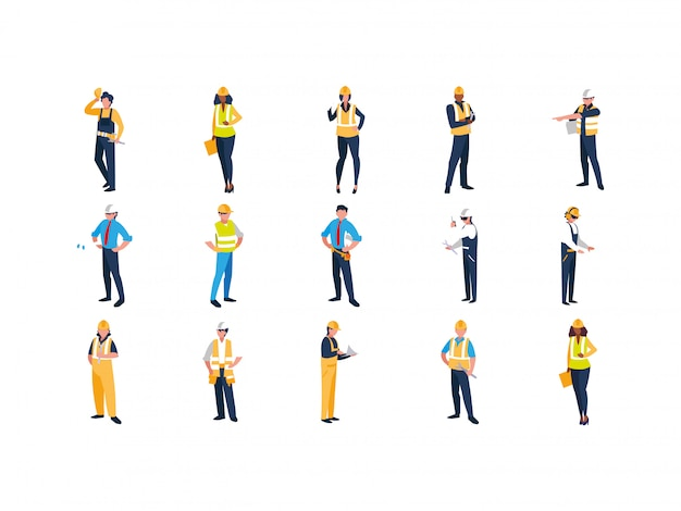 Isolated builder men with yellow and white helmet set