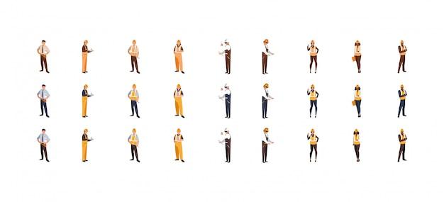 黄色と白のヘルメットセットを持つ分離ビルダー男性女性
