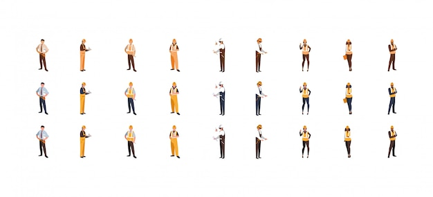 Isolated builder men women with yellow and white helmet set