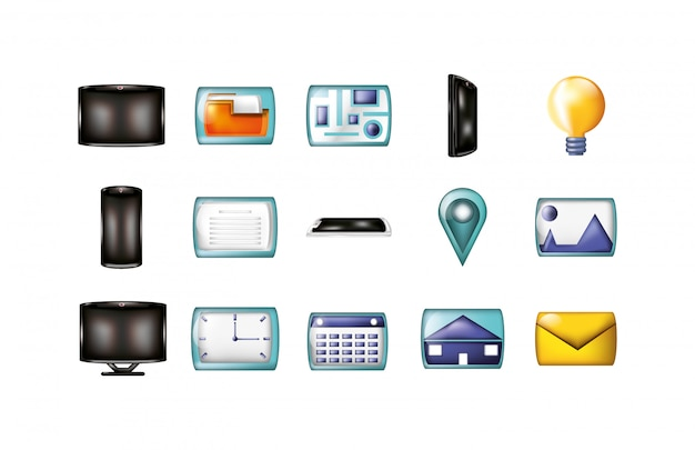 Isolated business and office icon set