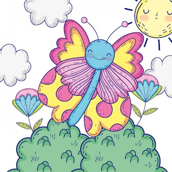 Isolated butterfly draw cartoon design illustration