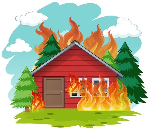 Isolated cabin house on fire
