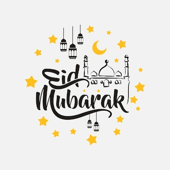 Isolated calligraphy of happy eid mubarak Premium Vector