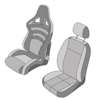 격리 된 자동차 좌석 벡터 세트