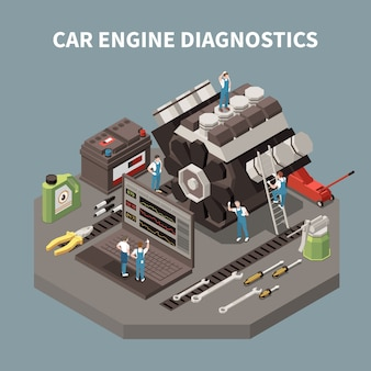 Isolated car service composition with car engine diagnostics headline and employees on work  illustration
