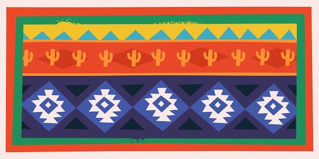 Изолированные карта с мексиканским орнаментом традиционный красочный векторный образец