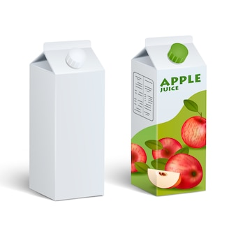 Isolated carton juice packages