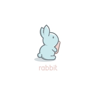 Isolated cartoon cute blue rabbit baby with orange carrot logo on white background happy easter day