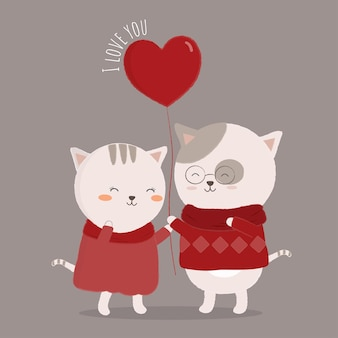 Isolated cat cartoon couple embracing love with each other.