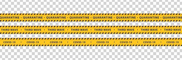 Изолированные ленты с предупреждениями о пандемии covid19 с желтыми и черными полосами