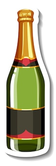 An isolated champagne bottle sticker template