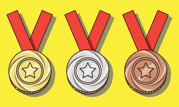 Isolated champions gold silver bronze medals set vector design illustration