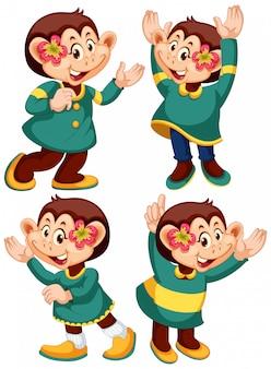 Изолированный персонаж с выражением обезьяна в позе человека