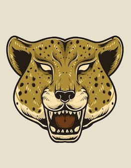Изолированная иллюстрация головы гепарда