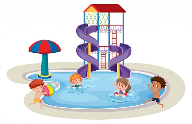 Isolated children in water park