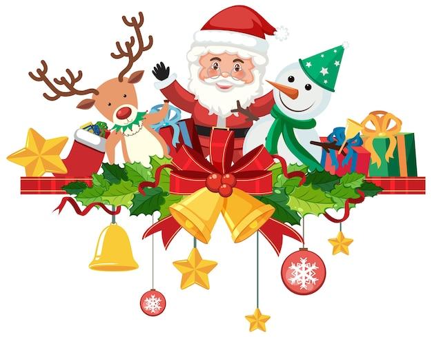 격리 된 크리스마스 종소리와 리본 장식