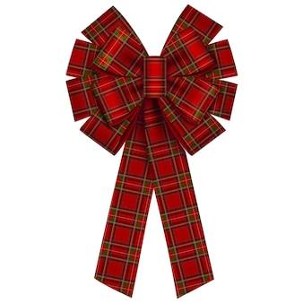Isolated christmas bow with tartan texture
