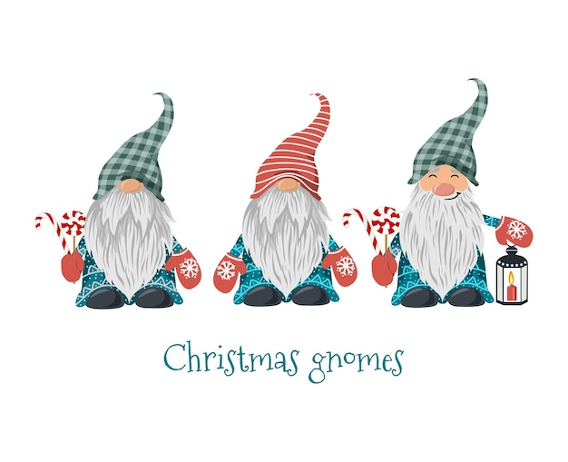 Isolated christmas gnomes with lollipop and lantern with candle.